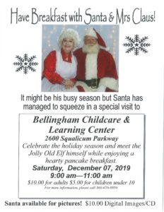 Breakfast with Santa and Mrs. Claus! @ Bellingham Childcare & Learning Center